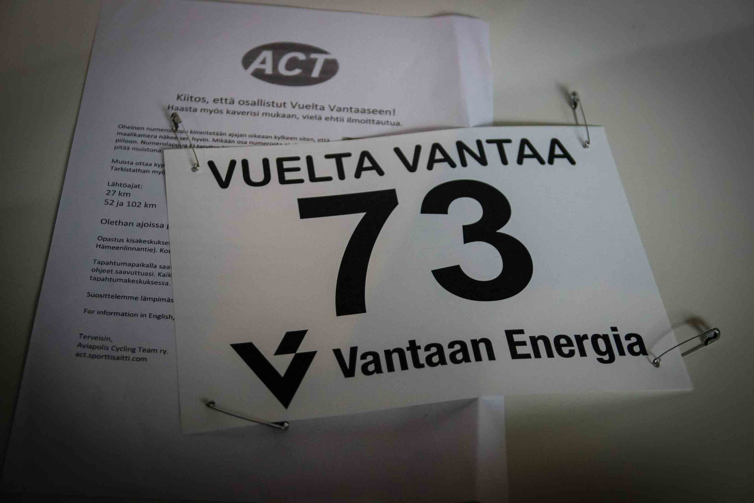 My race number tomorrow