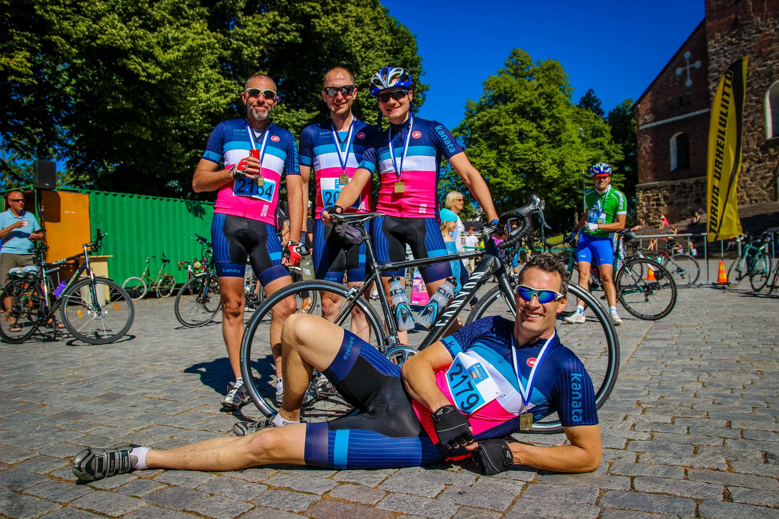 Kanata Racing Team after finishing Myllyn Pyöräily. All smiles!