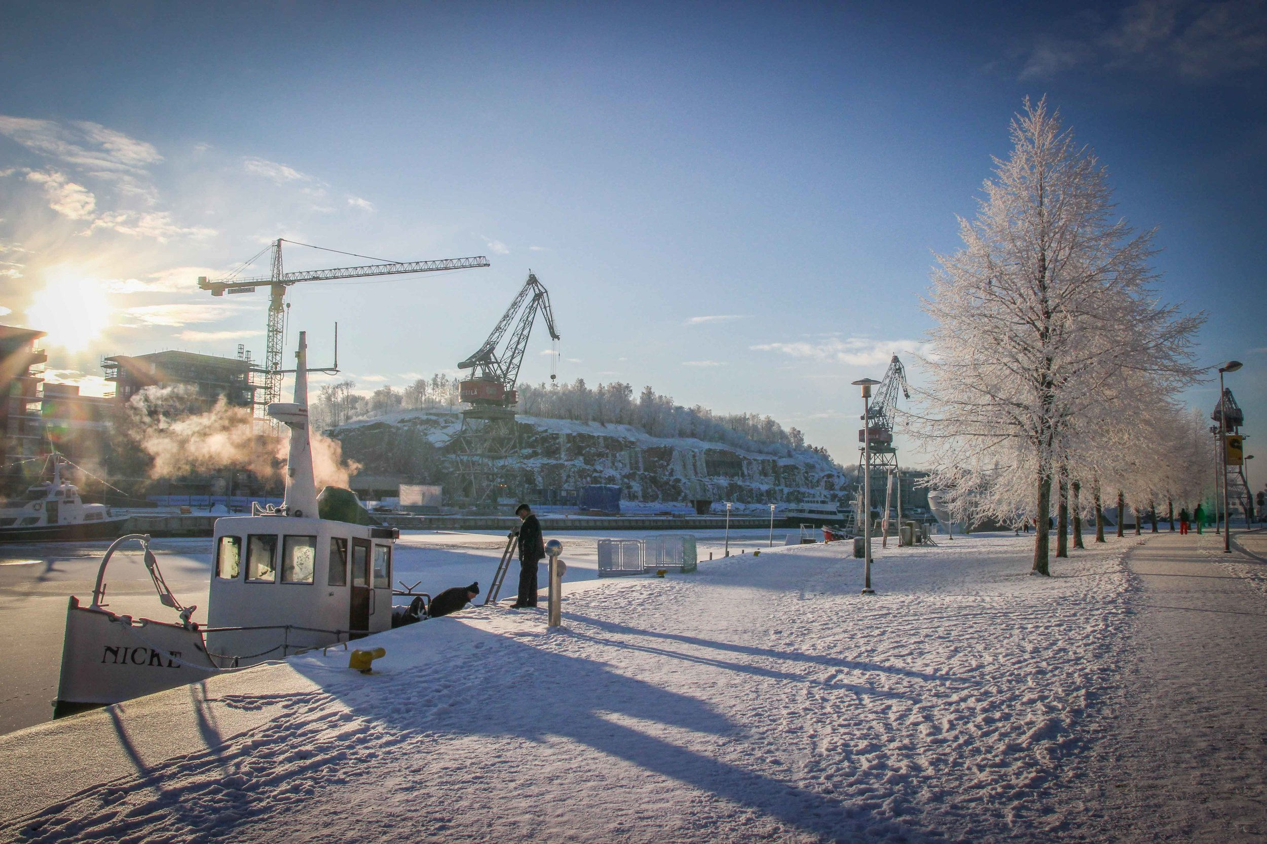 Winter at Aura River in Turku
