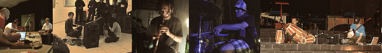 Left-Right ['07-'08]: Koufun Ninjin at ISI University, Sumatra noise with Al Gozaldi, Darman at Listening Puddle #2, Shoichi drumming at Kedia Kebun, shamisen with Tony Maryana (kendang)