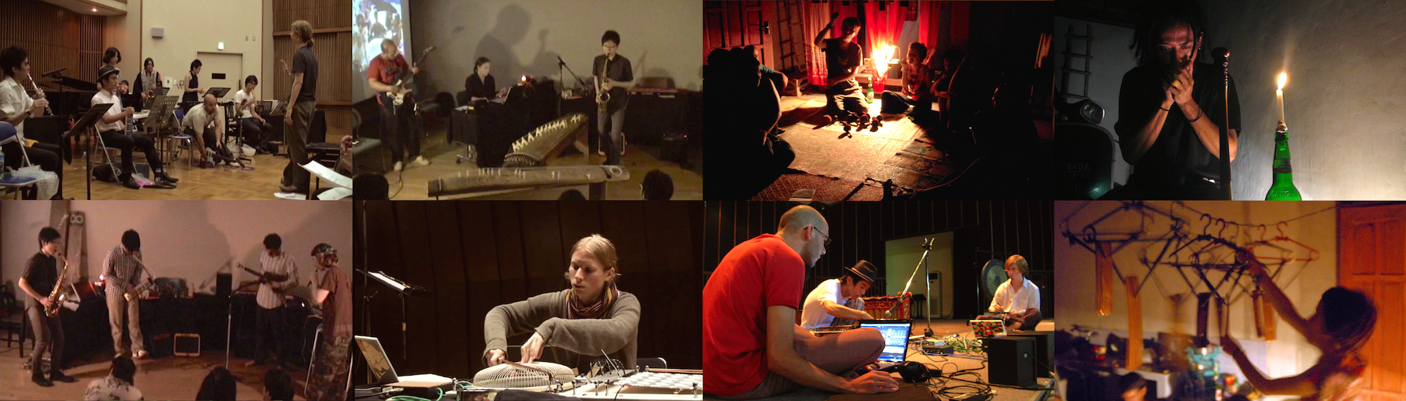 Improvisation performances and workshops: [left] Tokyo, 2009-2010 and [right] Yoygyakarta, 2008