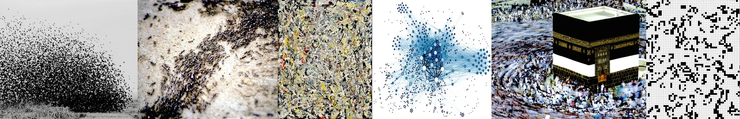 Masses formed from parts (left to right): Swarm behavior in birds and ants, Jackson Pollock's  White Light  [1954] used on the cover of Ornette Coleman's 1960 LP  Free Jazz , example of a social network map, crowds of worshipers at the annual Hajj in Mecca, Cellular Automata. (Image sources at the bottom of the page).