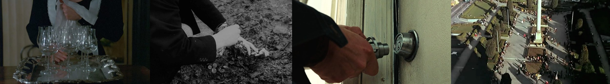 Details of objects designed to be heard: (left to right): Resonating bodies and the crips details of nature from  The Sacrifice  [1986], Anton Chigurh pops open the door in  No Contry for Old Men  [2007]. opening shot of  The Conversation  [1974] in which we find ourselves moving from a wide field of activity to a very specific point of focus.