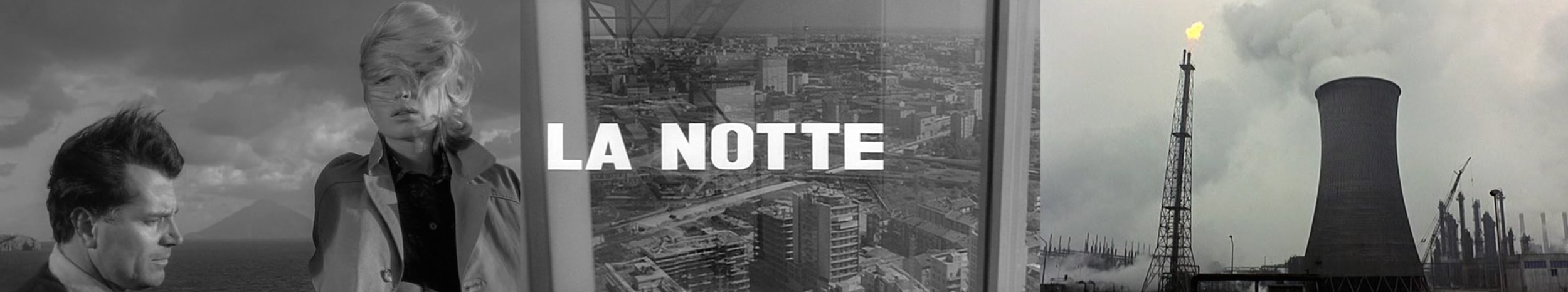 Strange, all pervasive soundscapes: (left) a violent, chaotic force of wind and crashing waves in  L'Avventura  [1960], (centre) an eerie combination of city sounds and electronic tones in the opening title sequence to  La Notte  [1961] and (right) Vittorio Gelmetti's electronic treatment for the soundtrack of  Il Deserto Rosso  [1964].