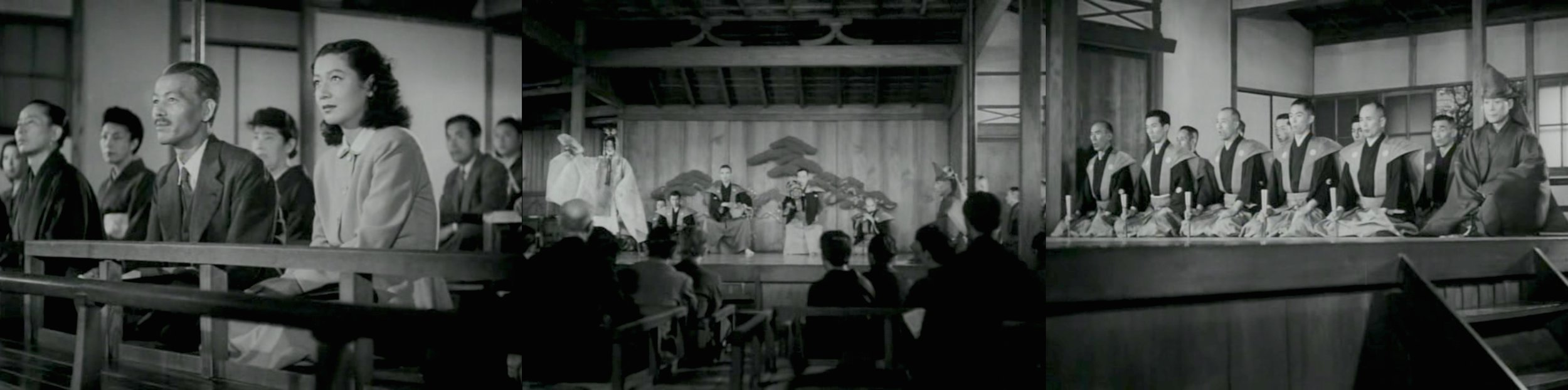 Three perspectives of a listener: Chishū Ryū and Setsuko Hara attending the Noh performance.