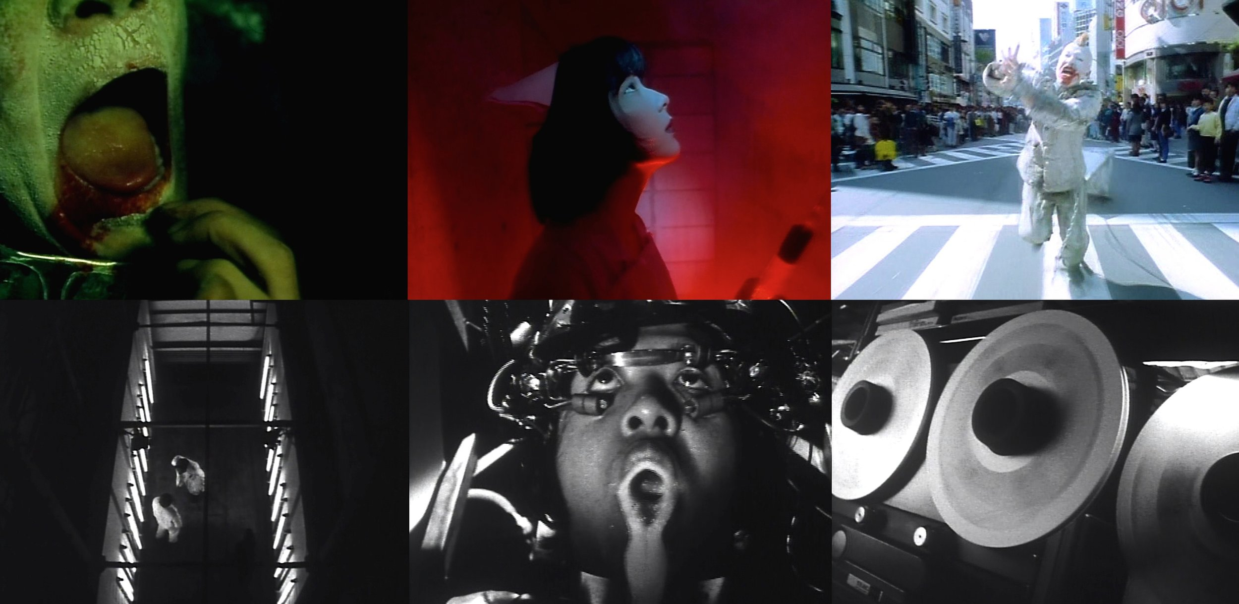 Top row: Images from Fukui's brilliantly hyper-active  964 Pinocchio  [1991] • Bottom row: Examples of the beautifully grainy black and white images of Fukui's follow-up  Rubber's Lover  [1996]