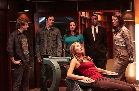 A still from one of the episodes, showing  most  of the core cast.