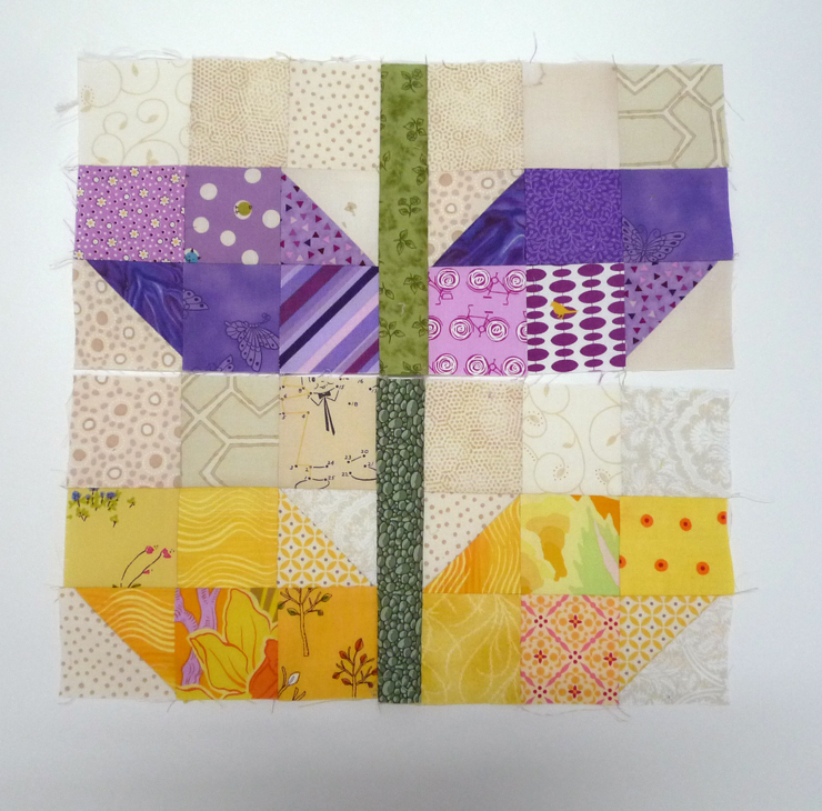 Scrappy Sprout blocks for Emily, part of the F+F2 bee. She pointed us toward  this tutorial  guide from Traceyjay Quilts.