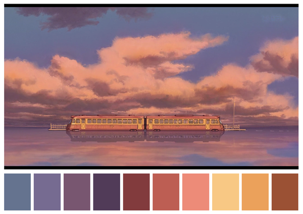 Provided by Cinema Palettes, Spirited Away (2001) dir. Hayao Miyazaki:  https://pbs.twimg.com/media/CftYIDPW8AAKXti.png