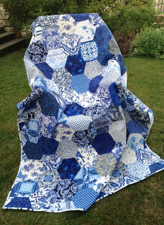 My Blue and White, by Prosivana Deka. Large, bold, pieced hexagons.