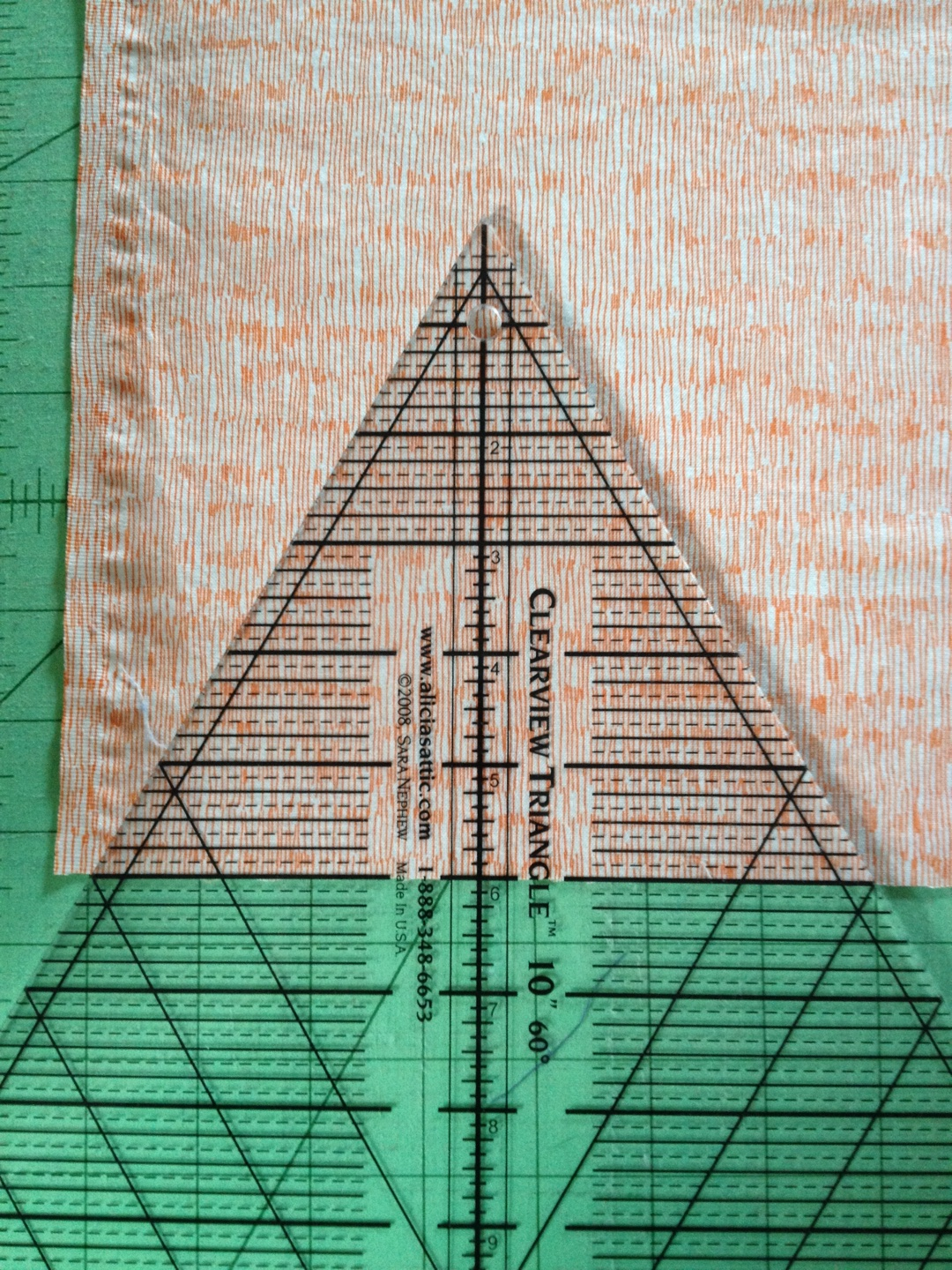 "On this ruler, the number at the base is actually the height of the triangle, so if you are going for 6"" tall, as I am, use the line for 6."