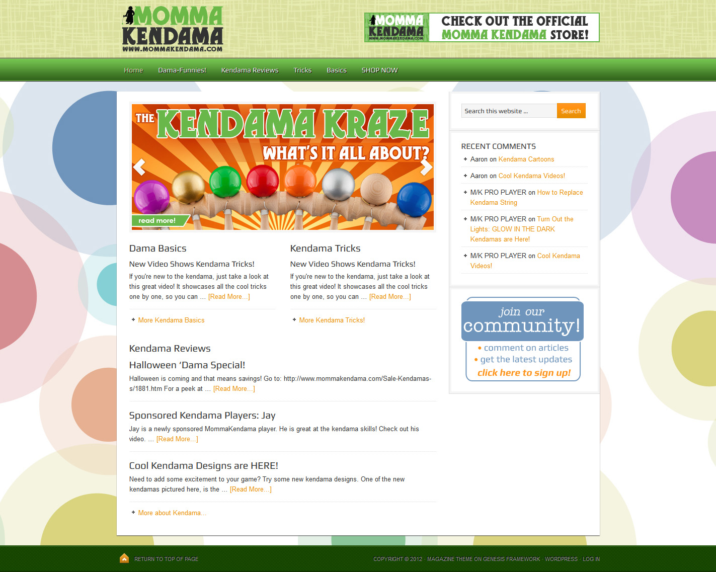 momma kendama blog homepage