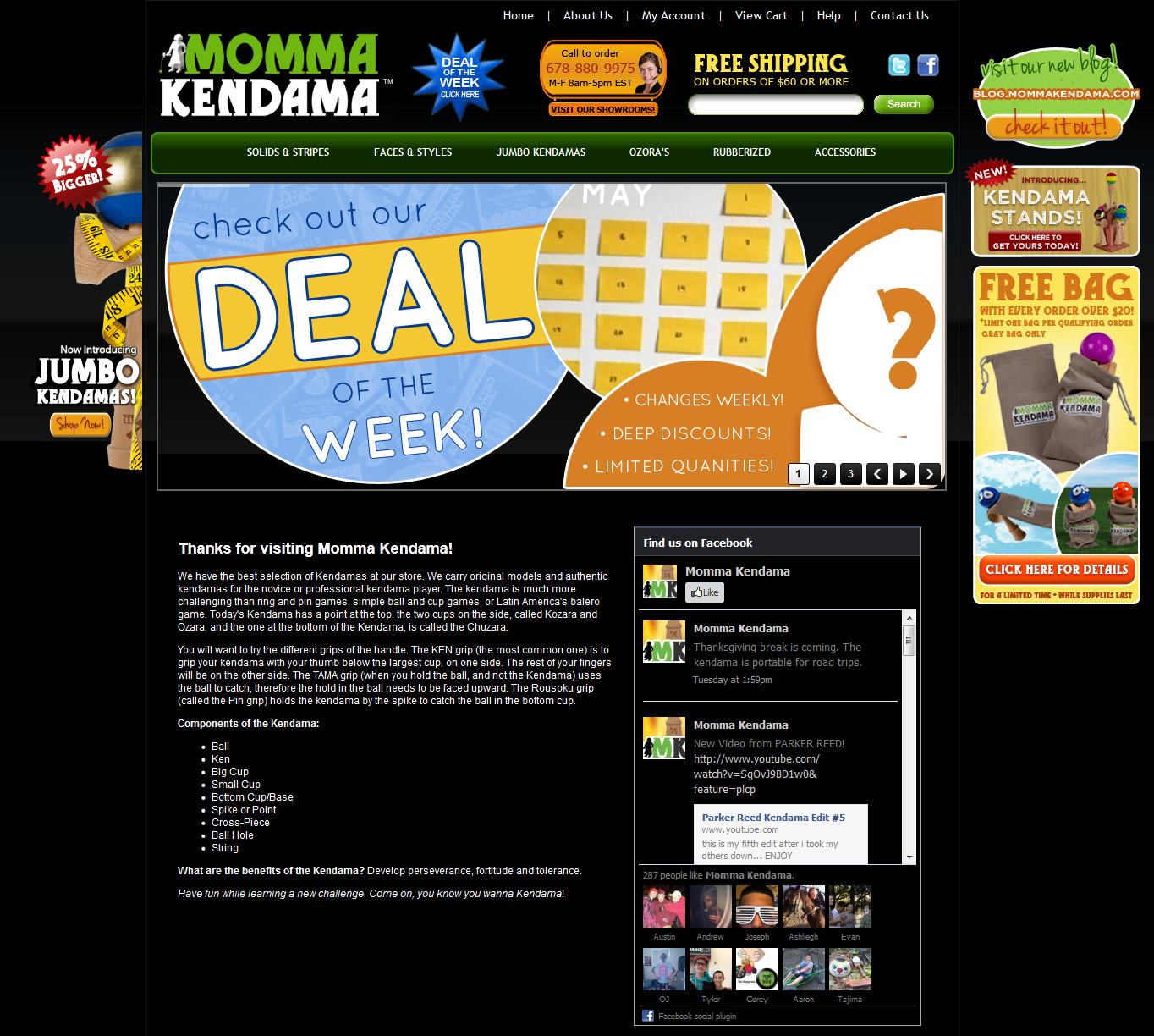 momma kendama website homepage