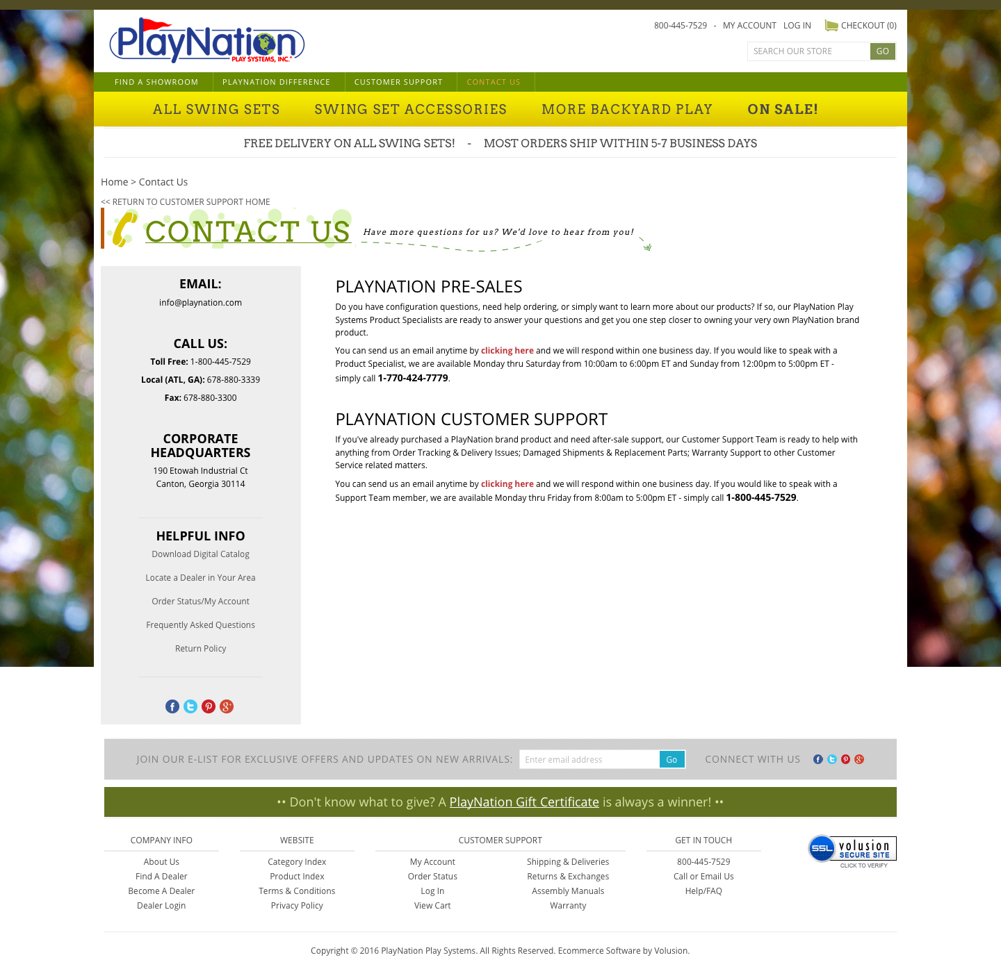 The contact us page for PlayNation.com.