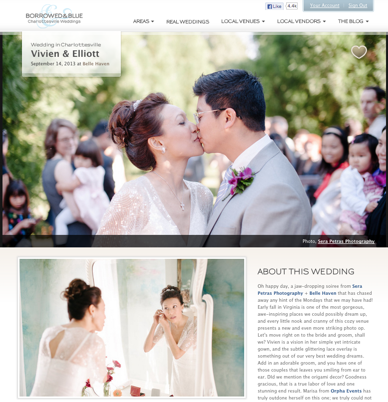 Vivian + Elliot's Belle Haven Wedding featured on Borrowed & Blue.