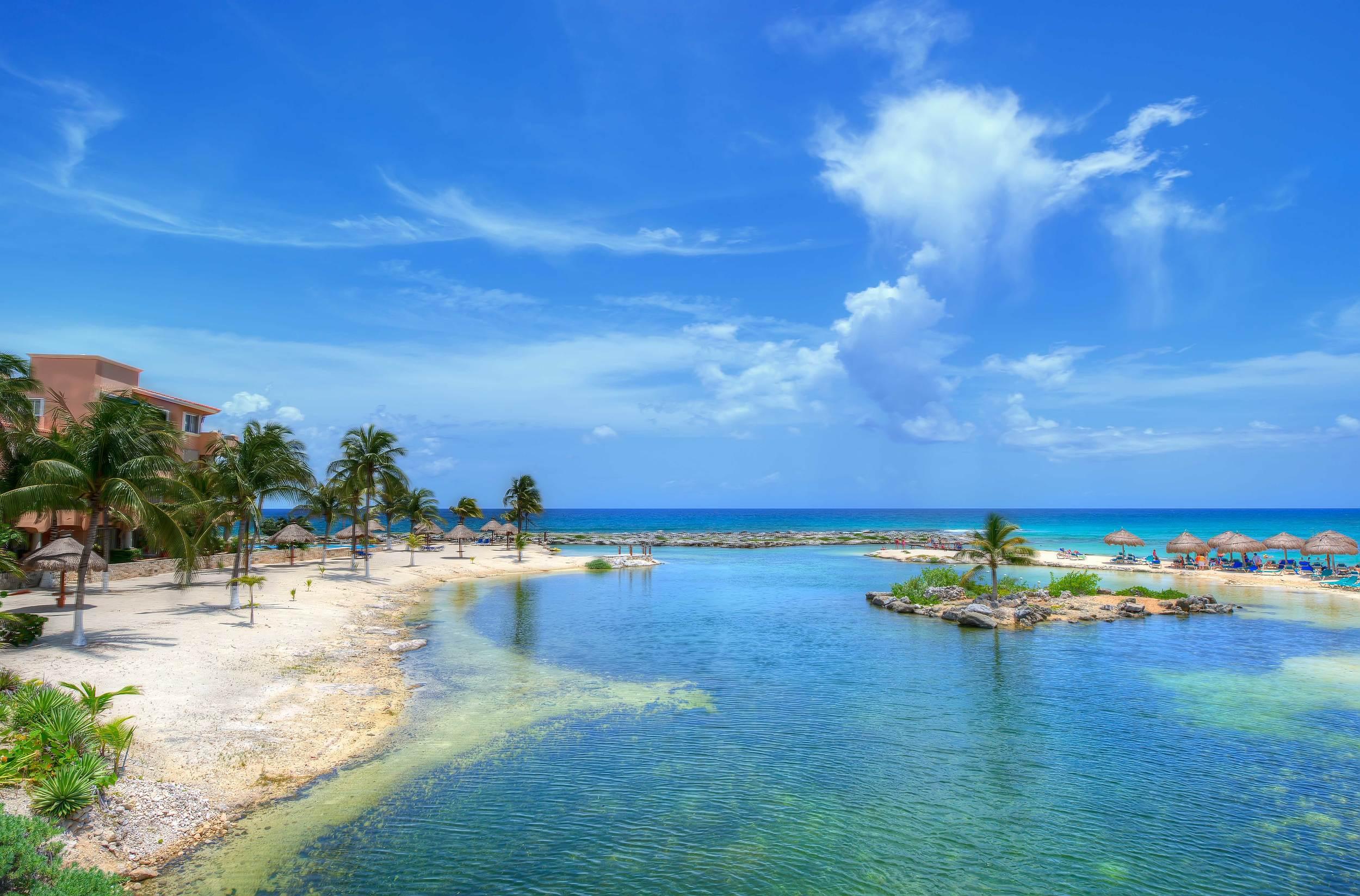 Lagoon at a resort near Puerto Aventuras Mexico