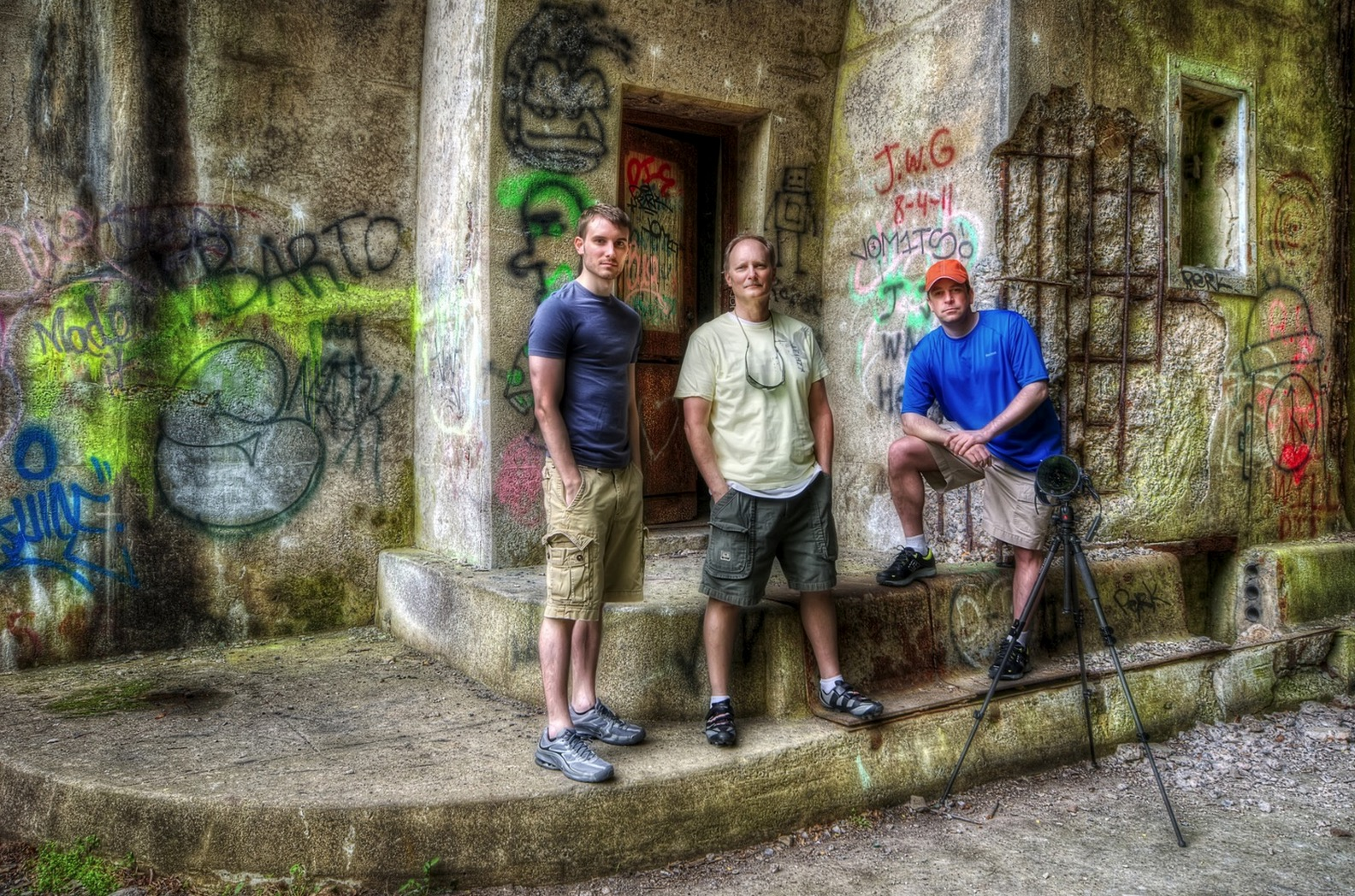 Photo taken and processed by Brad Truxell: From left to right, Brad Truxell, Dave Truxell, and Brook Ward. This was taken in the entrance of a tunnel on the Abandoned Pennsylvania Turnpike on our photowalk (well we biked the abandoned road).