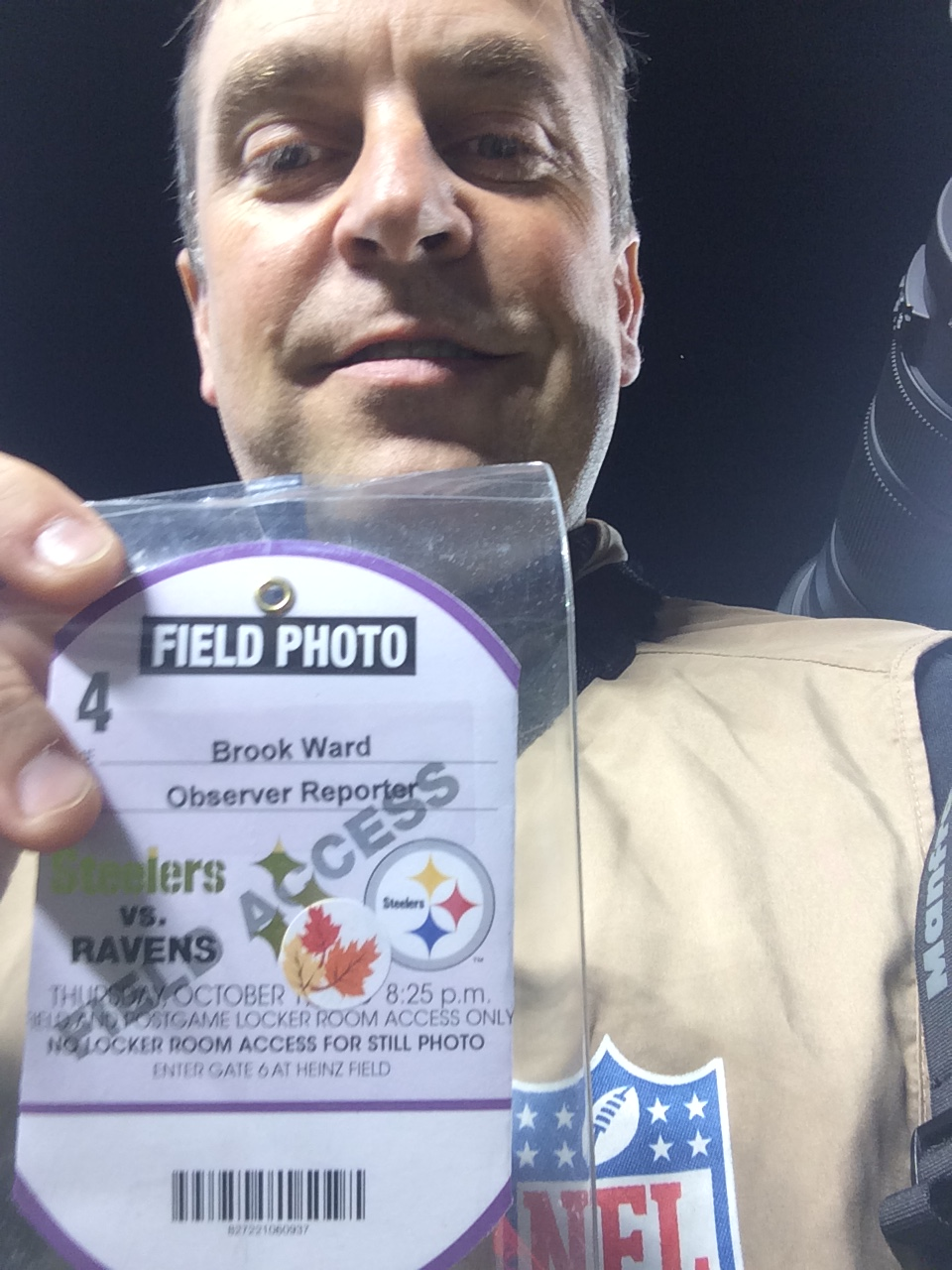 Me and my media pass (taken with my iPhone)