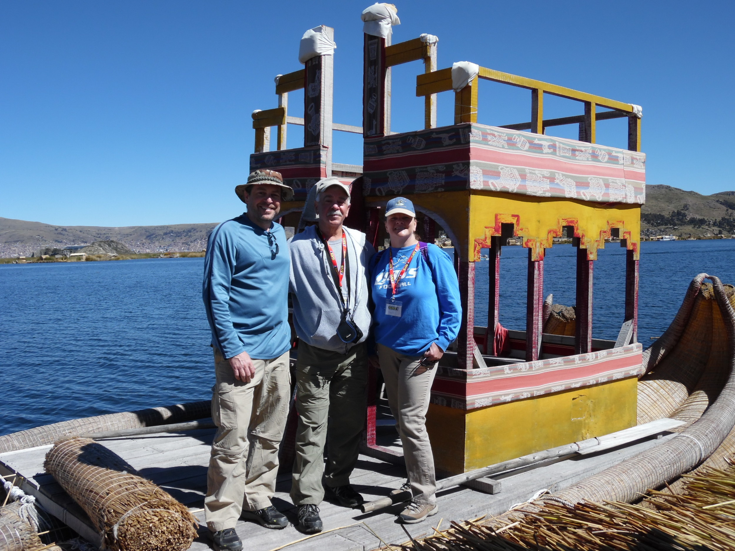 MJ, my dad and I on Lake Titicaca in Peru