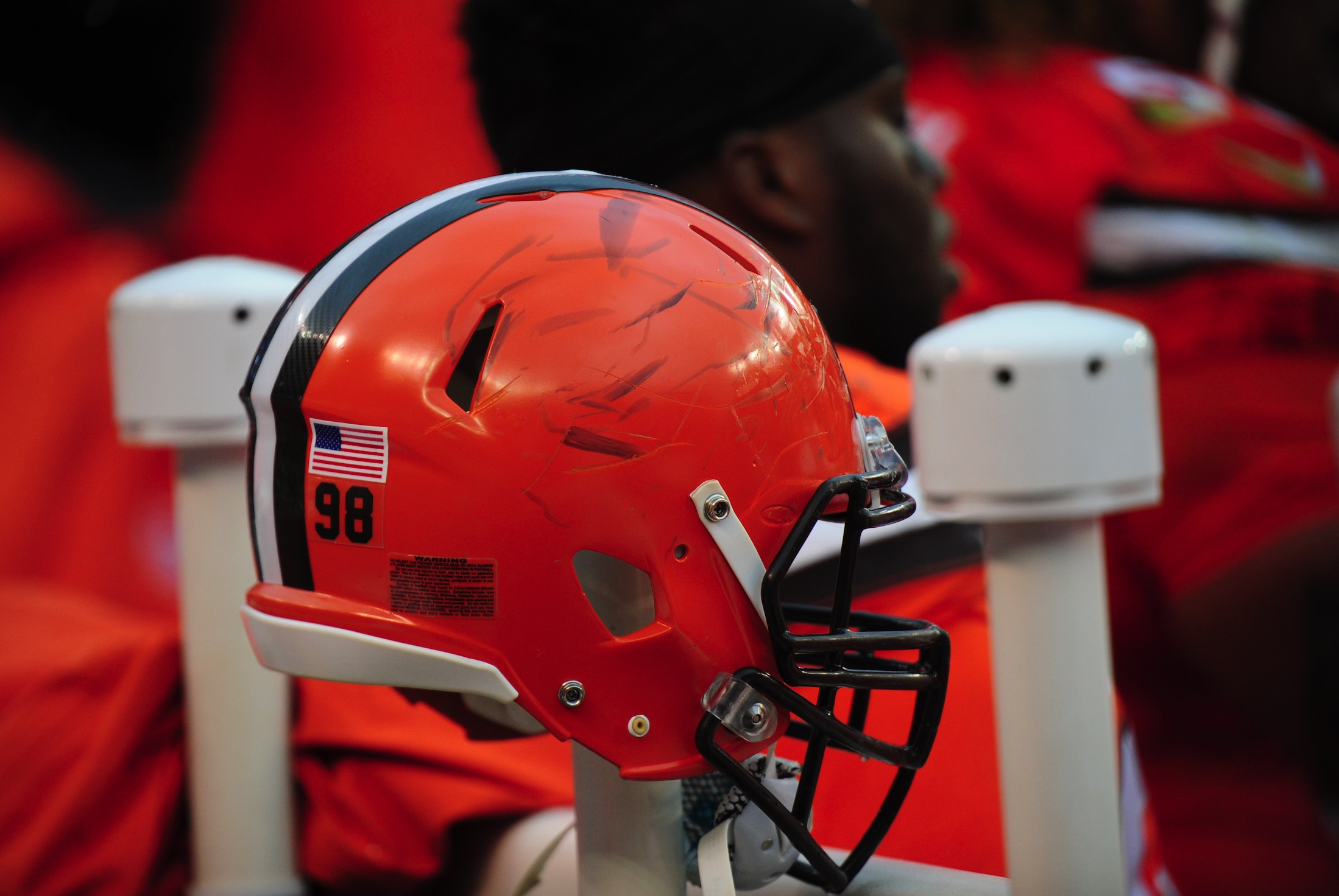 You can tell it was a rough day for the Browns by looking at this helmet.