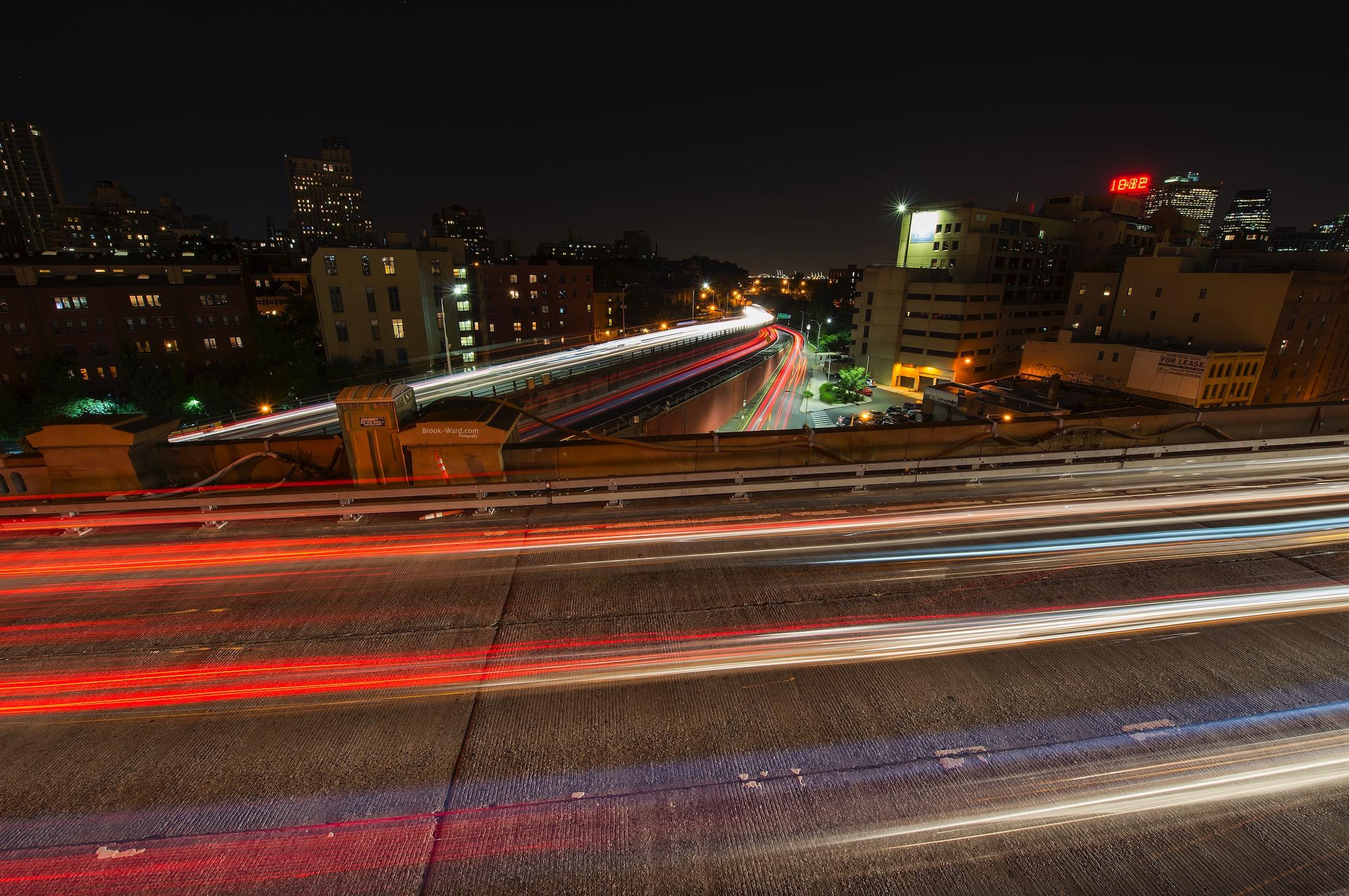 Traffic light trails in Brooklyn