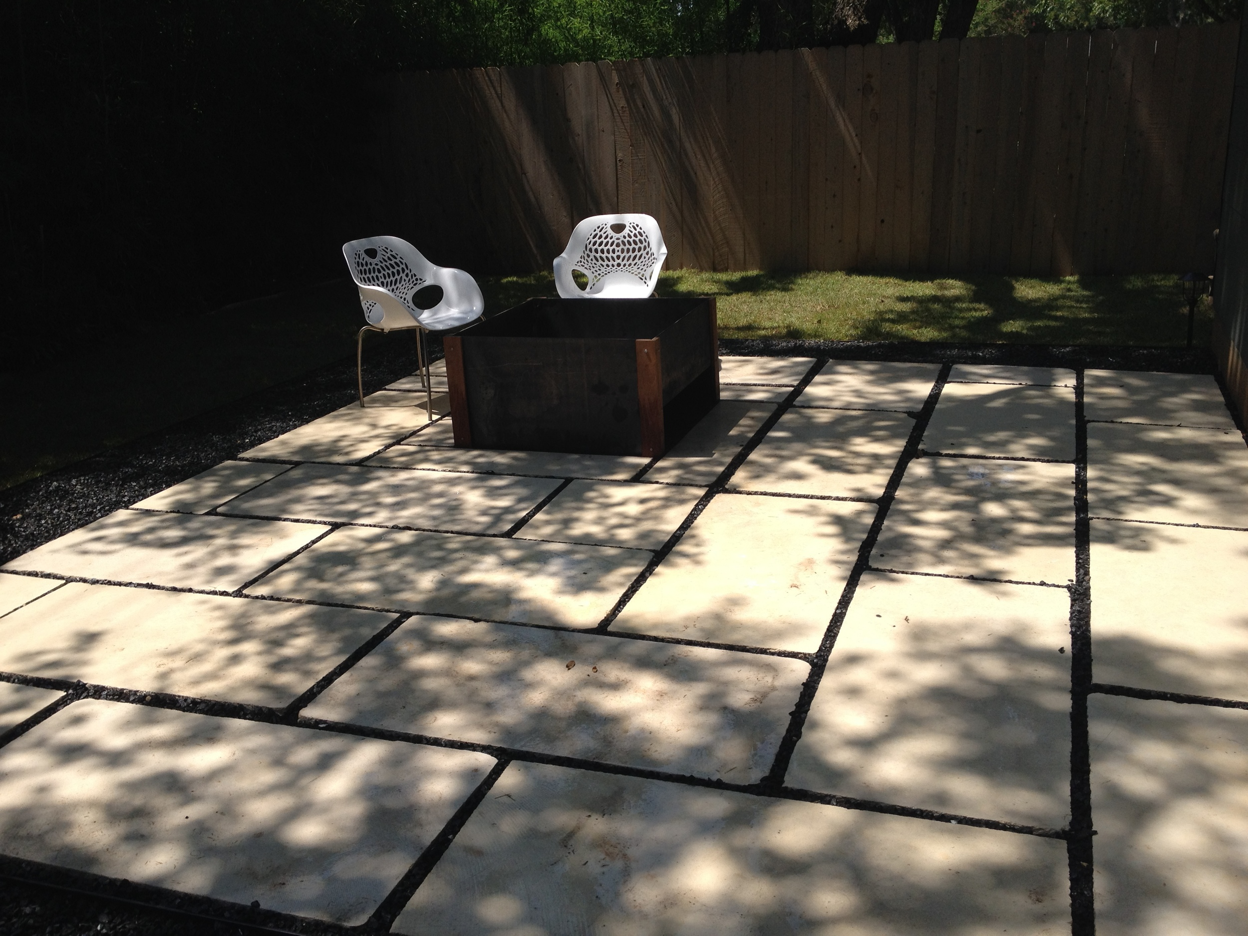 Limestone Patio and Steel Firepit
