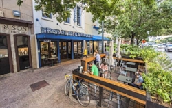 First Pocket Patio installed outside of Royal Blue Grocery on South Congress in Austin, Texas