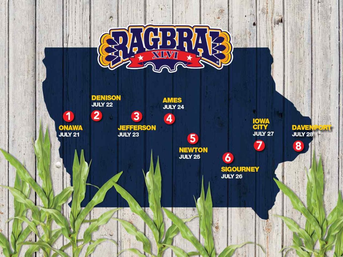 The 2018 route across Iowa