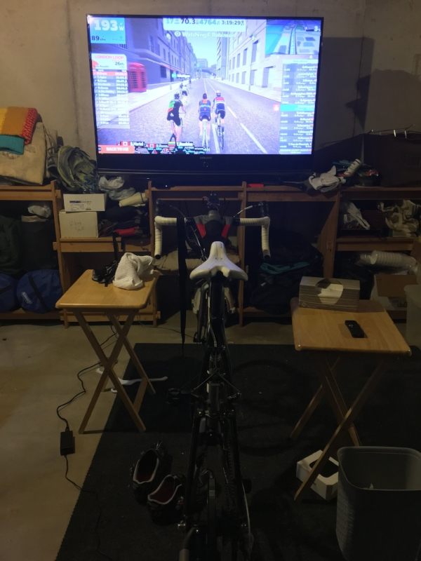 The basement winter riding set-up.