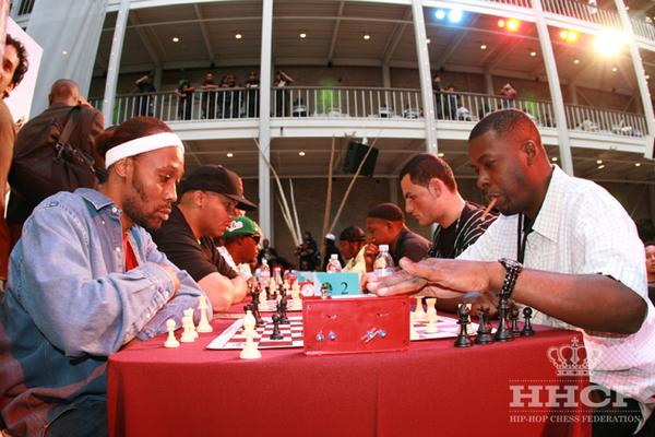 RZA (L) and GZA (R) playing at HHCF Chess Kings Invitational.