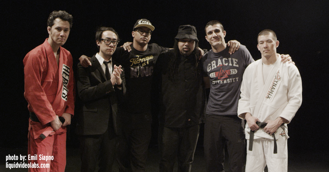 "Alan ""Gumby"" Marques, Mike Relm, Adisa Banjoko, Rakaa Iriscience, Rener Gracie and Henry Akins at Area 51 (thats G-14 classified)."