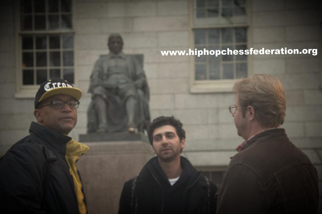 Adisa Banjoko freezing his ass off after his Harvard lecture, with two White guys ( video mastermind JP Garzone and author Brian Coleman) totally comfortable in the arctic weather of Boston. Look at his face. This is a Black man clearly built for the west coast.