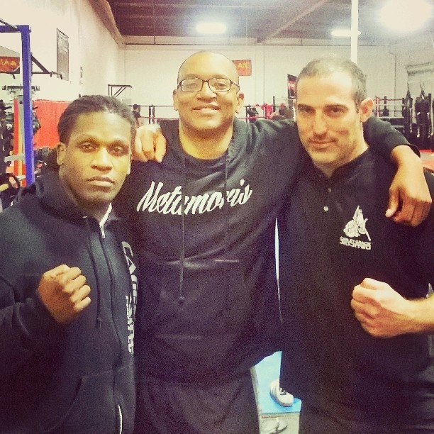 R to L MMA Fighter D'Juan Owens, Adisa Banjoko of Bishop Chronicles and Dr. Peter Goldman