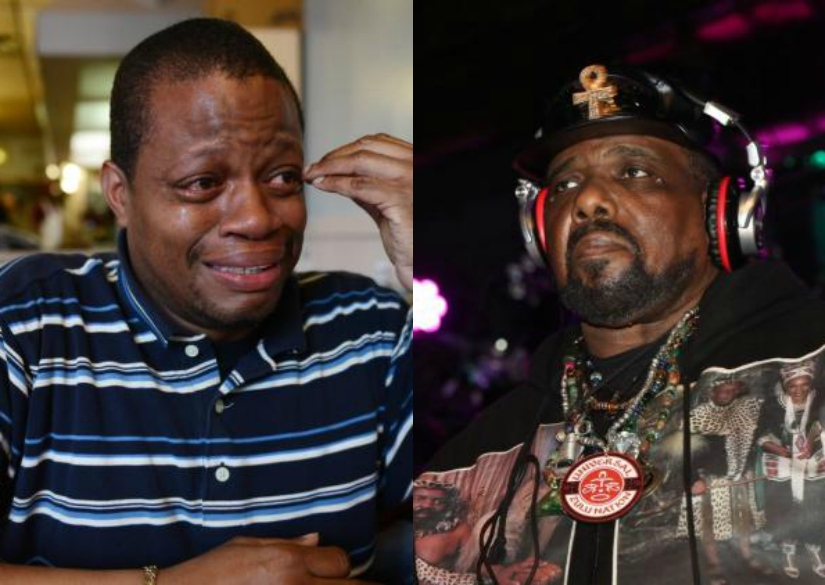 Afrika Bambaataa (R) was accused of molesting Ronald Savage aka Bee Stinger (L) when Savage was a young teenager. After telling the press he never knew Bee Stinger, it was was proven that in fact he had known Savage and done events with him in the early 1980's. If Bam would lie about knowing Savage, what else would he be untruthful about? Photo courtesy of www.clutchmagazine.com .