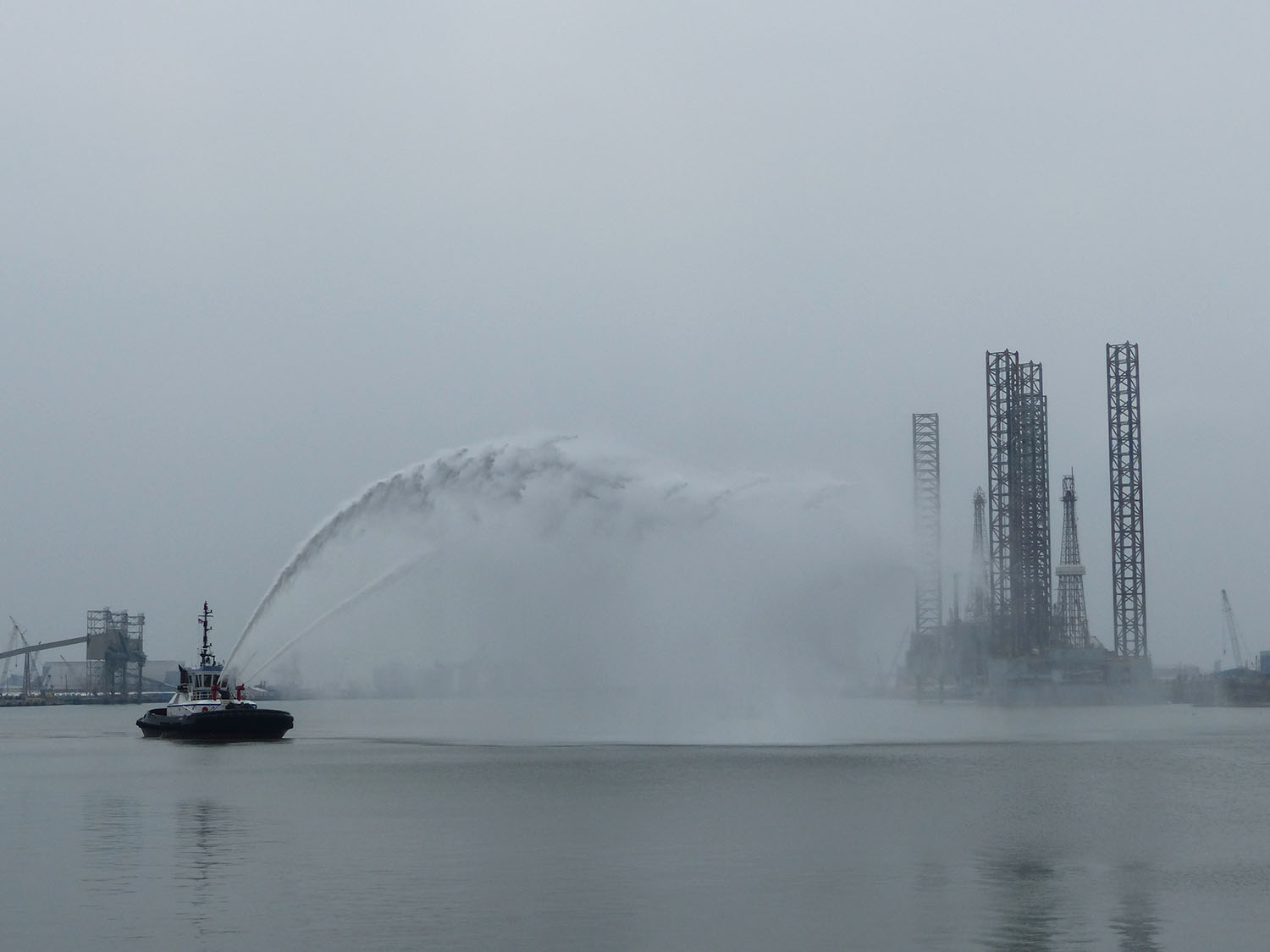 Fire boat doing its thing