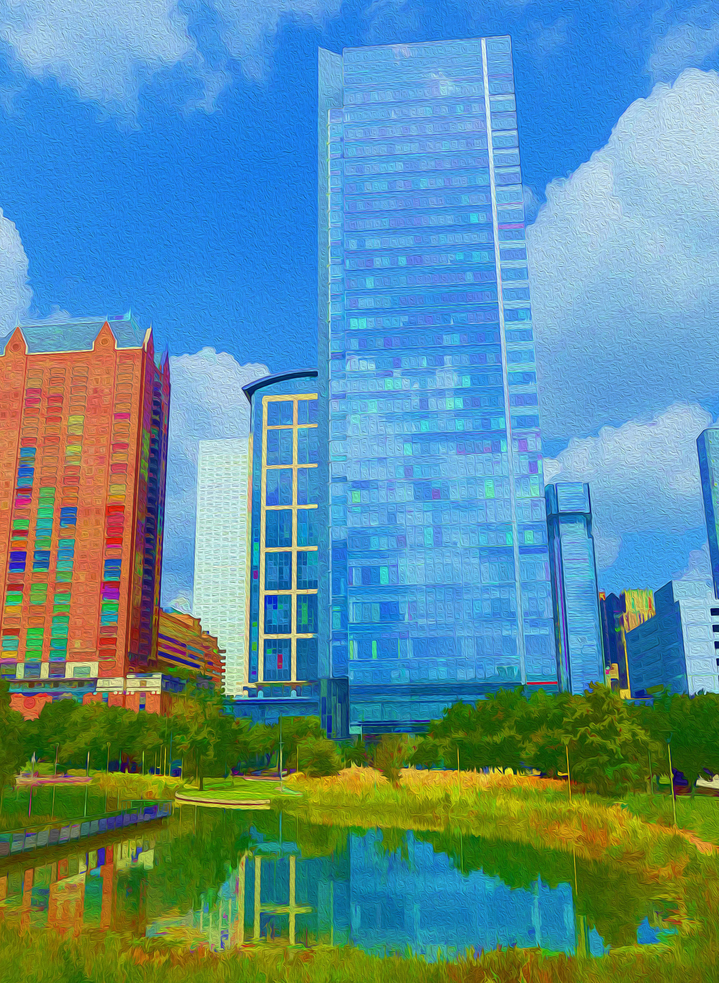 Discovery Green Park, downtown Houston  -  edited with Topaz Simplify