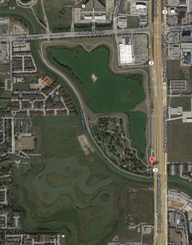 Storey Park and the retention areas around Brays Bayou