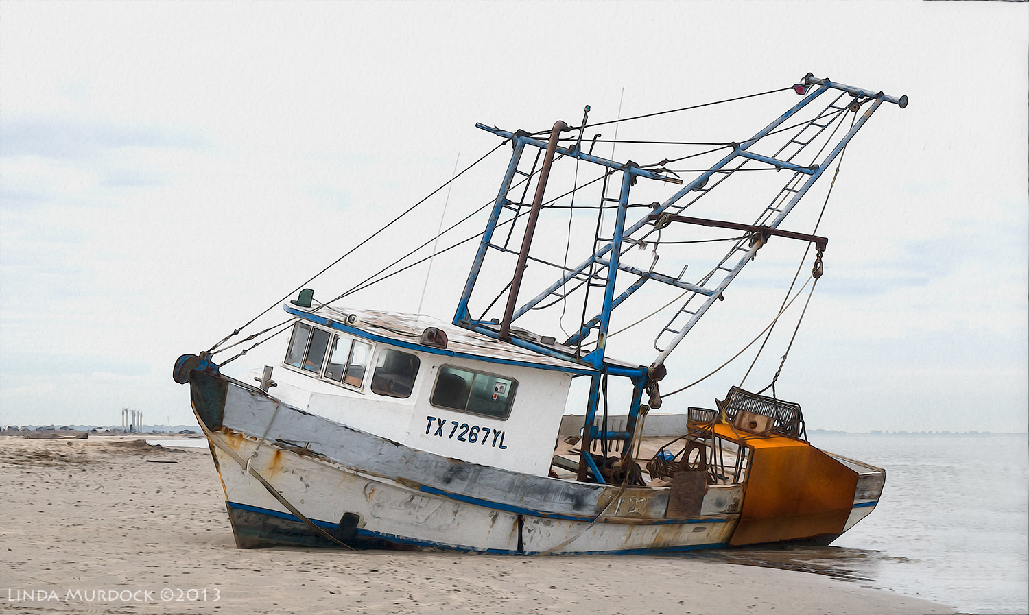 Shrimper aground.    ISO 400 1/400 at f/11.0, focal length109.0mm. Post-processed with Photoshop Overlay and Oil Paint.