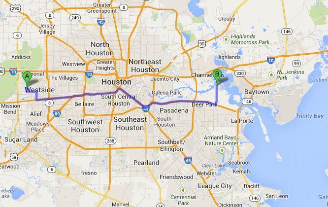 Approximately 40 miles across Houston