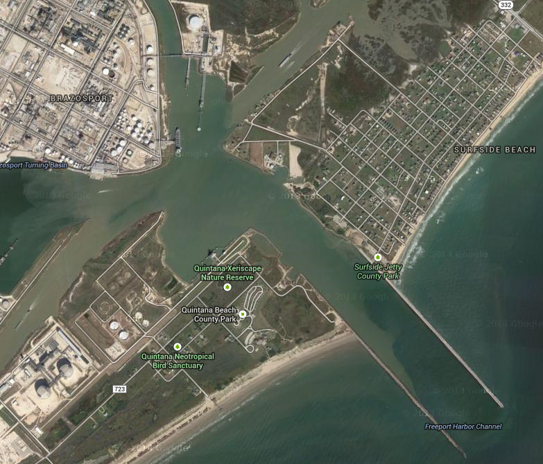 Quintana Neotropical Bird Sanctuary near the Freeport Harbor Channel    Map from Google