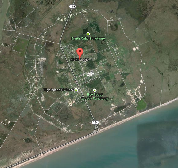 Google map of High Island located about 100 miles east of Houston almost on the coast of the Gulf of Mexico