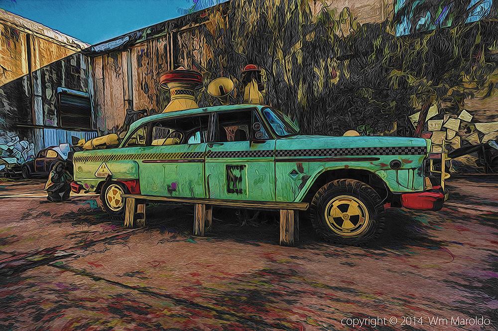 Retired tech writer behind retired Art Car    Photography and Digital Art by William Maroldo