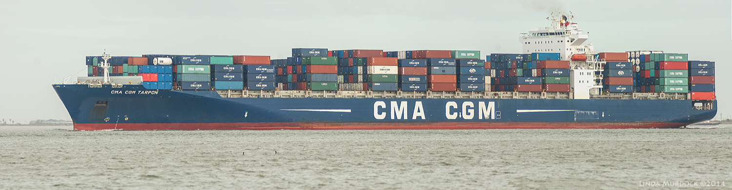 CMA CGM Tarpon container ship headed for the Port of Houston    Sony 700 with 70-400mm 1/1600 sec. f/5.6 ISO 1000