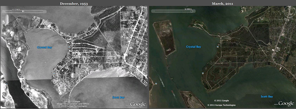 Google Earth comparisons from 1953 to 2011.