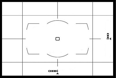 Virtual Horizon in viewfinder. The camera is aimed too far DOWN and tilted too far to the RIGHT to be level. Move it slightly up and level until the arrows disappear