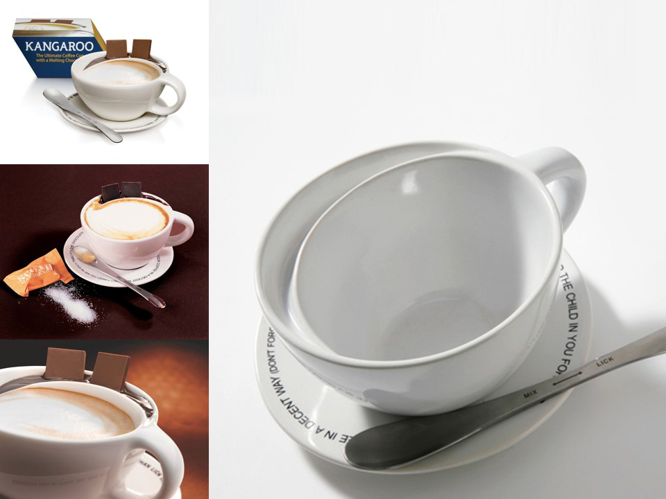 A  cup with a pocket for chocolate which enables the drinker to enjoy its double virtue: melting solid chocolate with the hot coffee in the mouth .  Material: porcelain, stainless steel   Size (cup): H8 x W11 cm  Client: Max Brenner Chocolate Bars