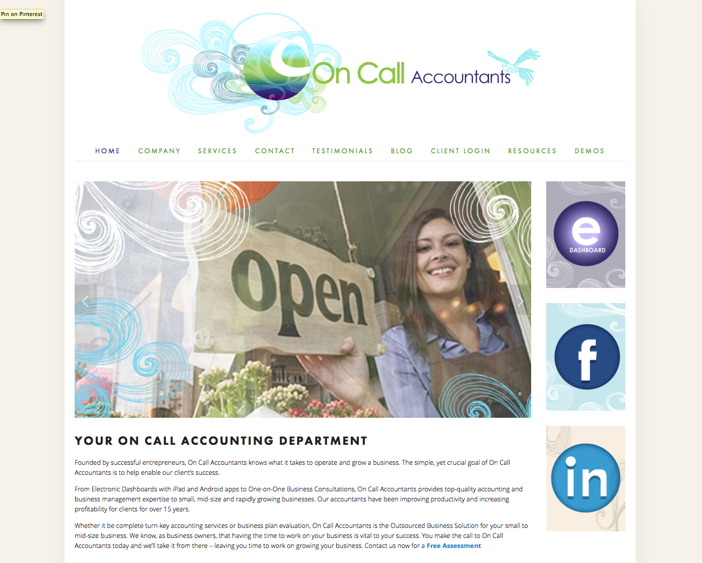 On Call Accountants Virginia Beach   Owner Maria Reich Needed to upgrade their old brand look to fit her new business model and location by the beach. Her problem was that she could not change the current logo so we added a secondary illustrative graphic element to help narrate and navigate the brand through out her site.