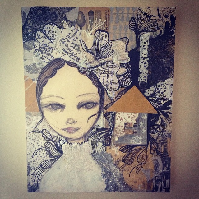 Illustration, collage commission for bride