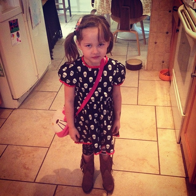 Ellie if off to a birthday party.