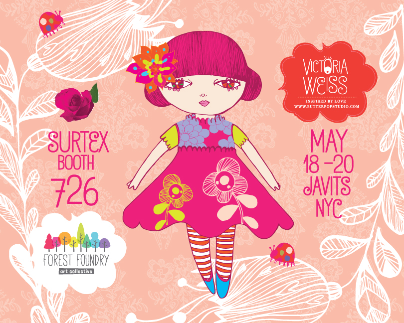 Surtex 2014 flyer, Booth 726, Javits Center NYC ( for the love of dolls, lady bugs, florals..)